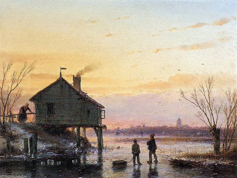 Scaters at wooden house Sun by Andreas Schelfhout (1787-1870, Netherlands) | WahooArt.com