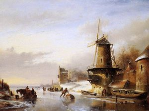 Andreas Schelfhout - Scaters frozen river mill Sun