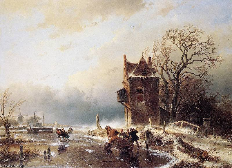 Scaters in stormy weather Sun by Andreas Schelfhout (1787-1870, Netherlands) | Famous Paintings Reproductions | WahooArt.com