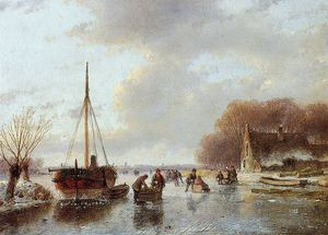 Andreas Schelfhout - Scaters near boat in ice Sun