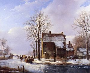 Andreas Schelfhout - Scaters near farmers dwelling Sun