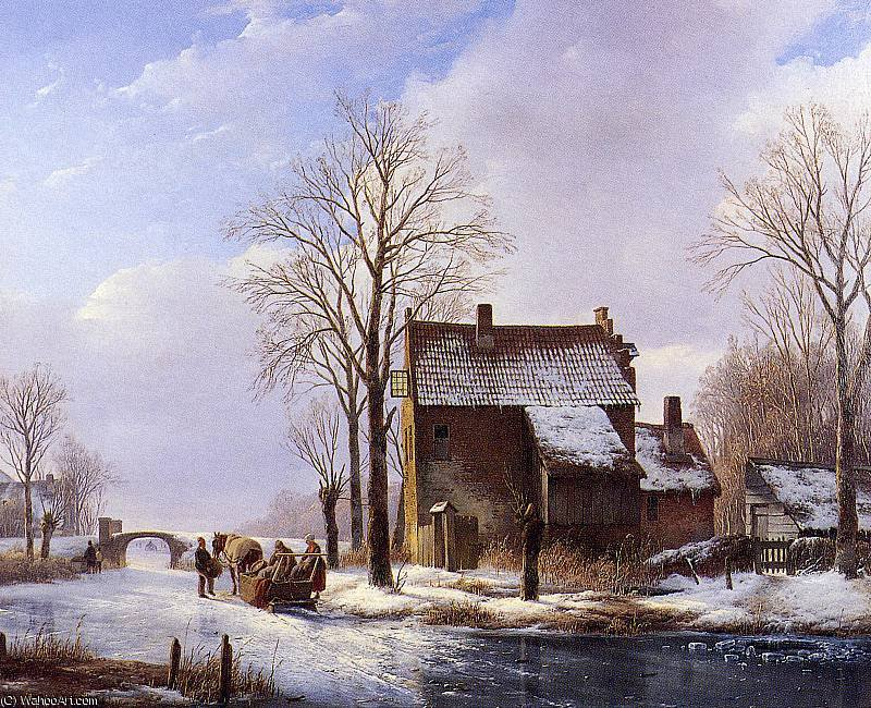 Scaters near farmers dwelling Sun by Andreas Schelfhout (1787-1870, Netherlands) | Museum Quality Copies Andreas Schelfhout | WahooArt.com
