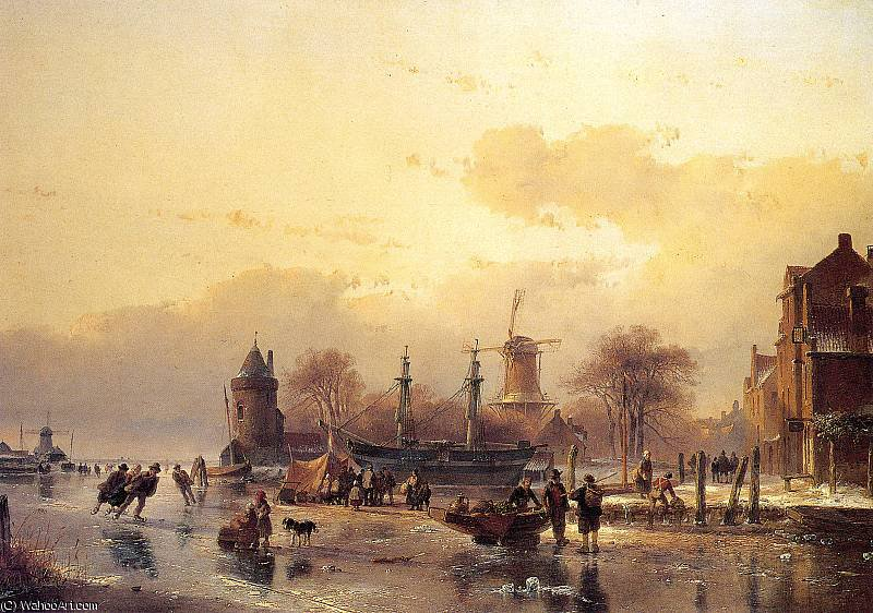Scaters near two master Sun by Andreas Schelfhout (1787-1870, Netherlands)
