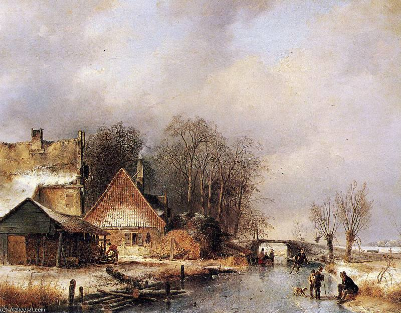 Scaters on canal 2 Sun by Andreas Schelfhout (1787-1870, Netherlands) | WahooArt.com