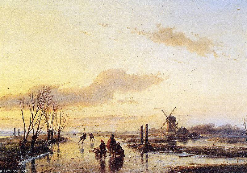Scaters on canal 3 Sun by Andreas Schelfhout (1787-1870, Netherlands)
