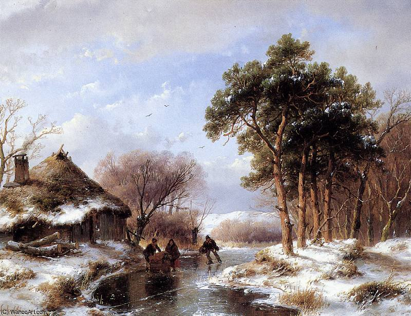 Scaters on canal Sun by Andreas Schelfhout (1787-1870, Netherlands) | Paintings Reproductions Andreas Schelfhout | WahooArt.com