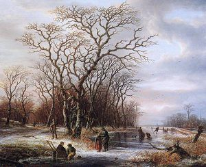 Andreas Schelfhout - Scaters on frozen canal Sun