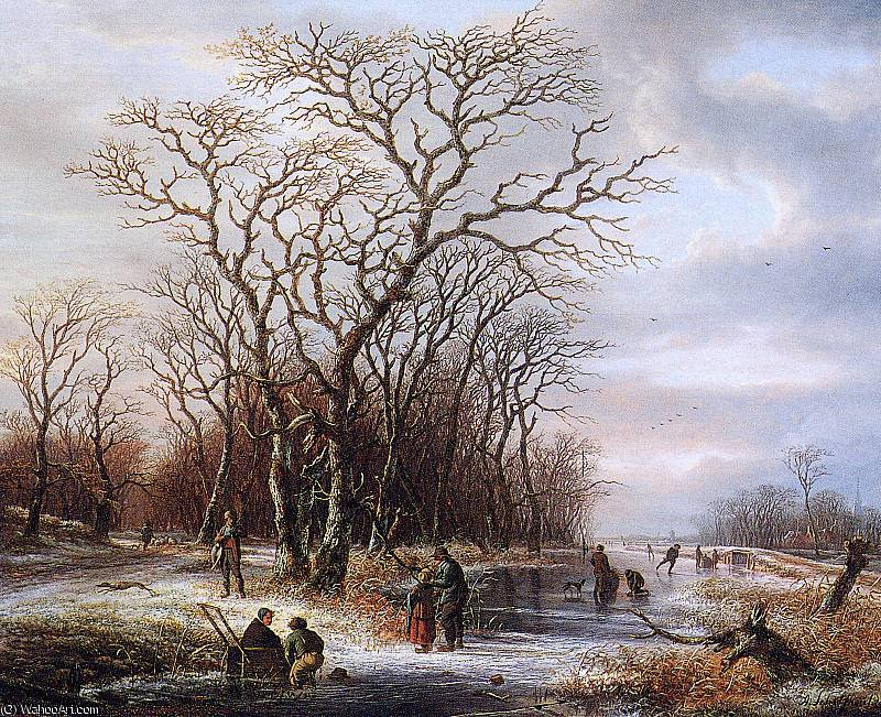 Scaters on frozen canal Sun by Andreas Schelfhout (1787-1870, Netherlands) | WahooArt.com