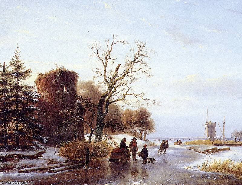 Scaters on frozen river 2 Sun by Andreas Schelfhout (1787-1870, Netherlands)