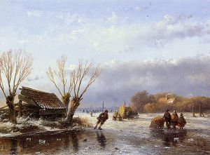 Andreas Schelfhout - Scaters on frozen river 4 Sun