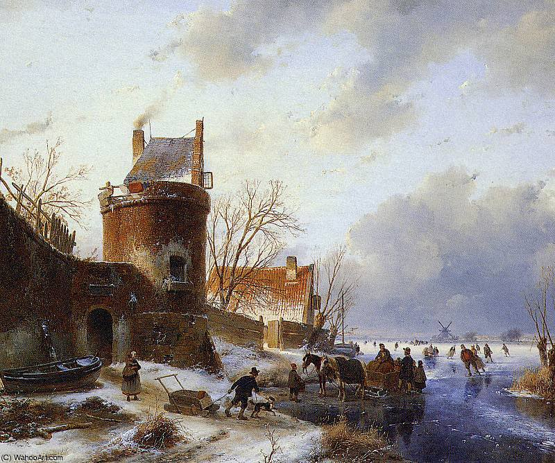 Scaters on frozen river Sun by Andreas Schelfhout (1787-1870, Netherlands) | WahooArt.com