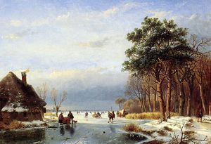 Andreas Schelfhout - Scaters on frozen river with firs Sun