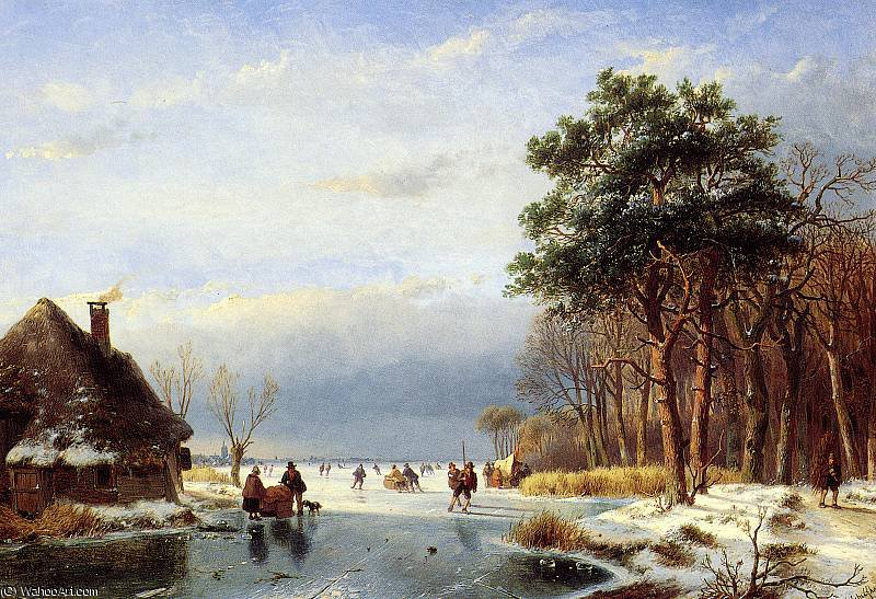 Scaters on frozen river with firs Sun by Andreas Schelfhout (1787-1870, Netherlands)