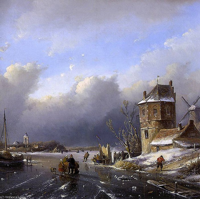 Winter landscape 2 Sun by Andreas Schelfhout (1787-1870, Netherlands)