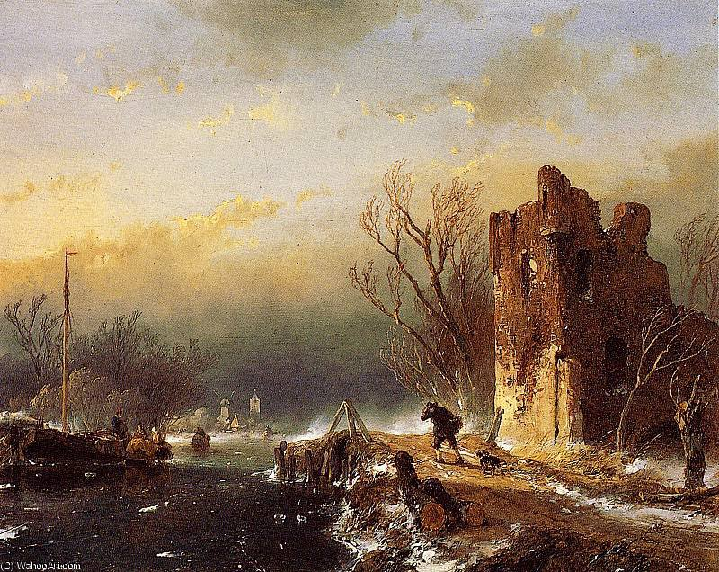 Traveller country road in winter Sun by Andreas Schelfhout (1787-1870, Netherlands)
