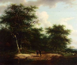Andreas Schelfhout - two figures in a summer landscape