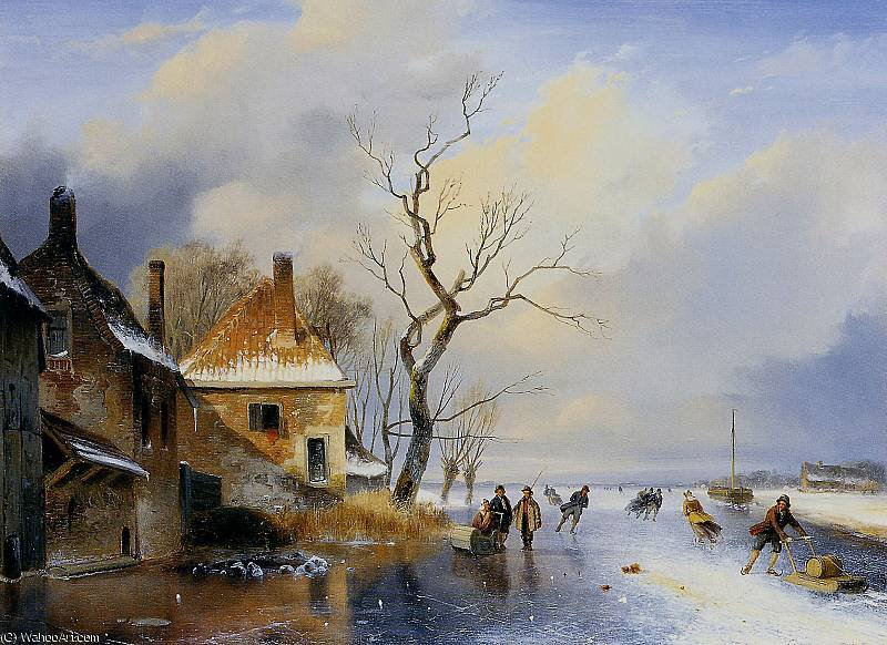 Winter landscape 1 Sun by Andreas Schelfhout (1787-1870, Netherlands) | Famous Paintings Reproductions | WahooArt.com