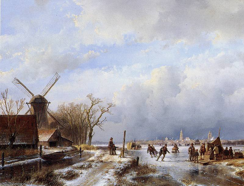 Winter landscape Delft Sun by Andreas Schelfhout (1787-1870, Netherlands)