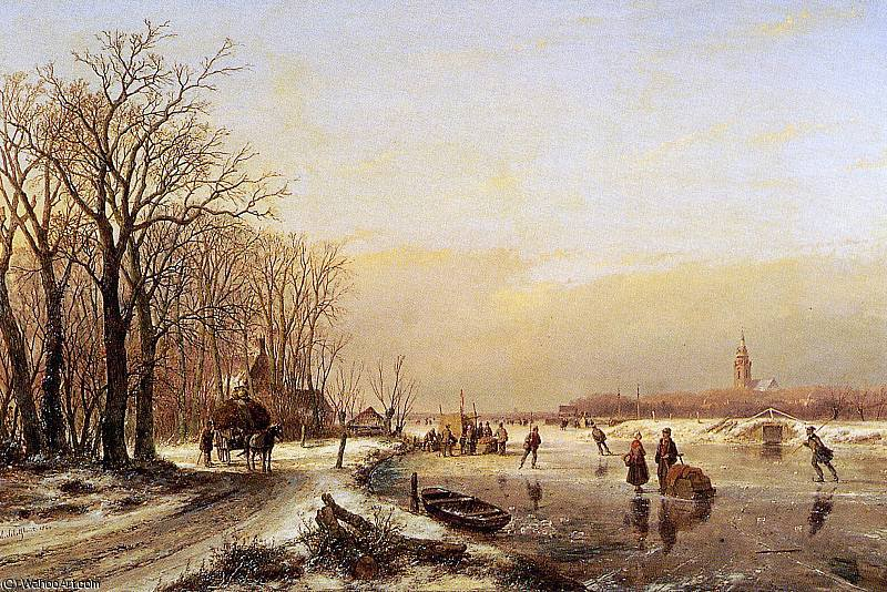 Winter landscape with scaters Sun by Andreas Schelfhout (1787-1870, Netherlands) | Paintings Reproductions Andreas Schelfhout | WahooArt.com
