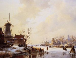 Andreas Schelfhout - Winter market on ice Sun