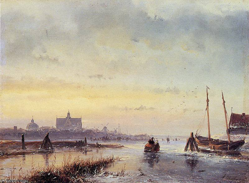 Winter scene at Leiden Sun by Andreas Schelfhout (1787-1870, Netherlands)