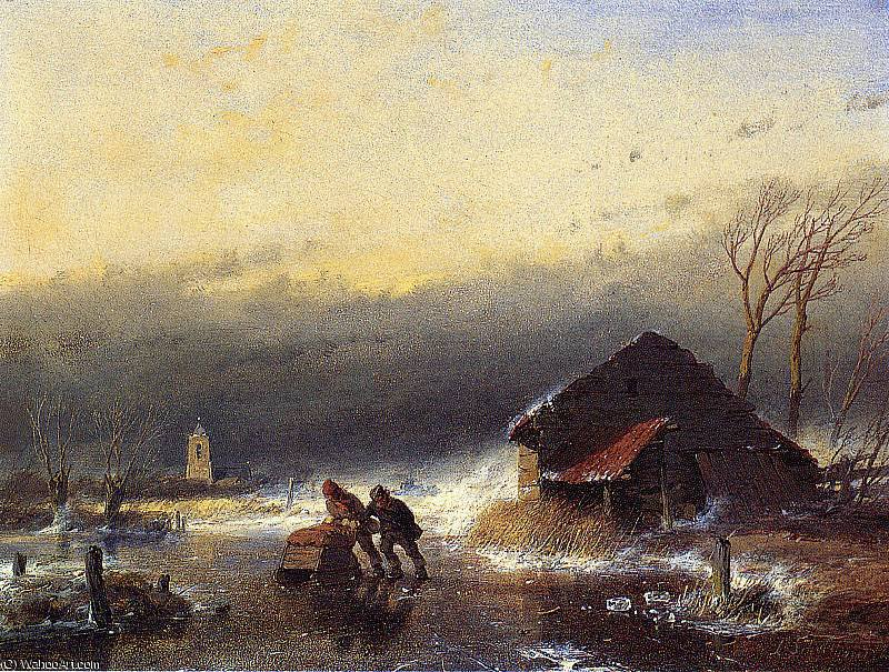 Winter storm Sun by Andreas Schelfhout (1787-1870, Netherlands)