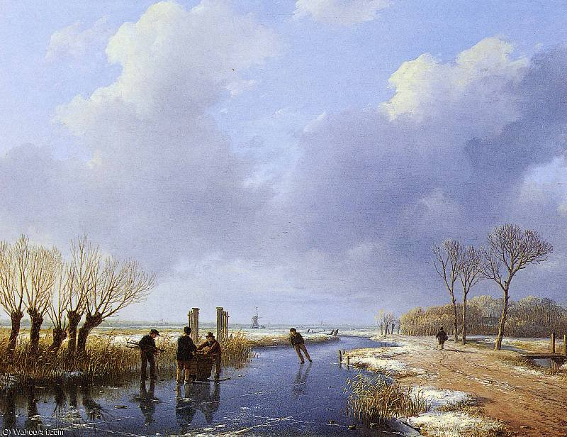 Wood gatherers Sun by Andreas Schelfhout (1787-1870, Netherlands) | Museum Quality Reproductions | WahooArt.com