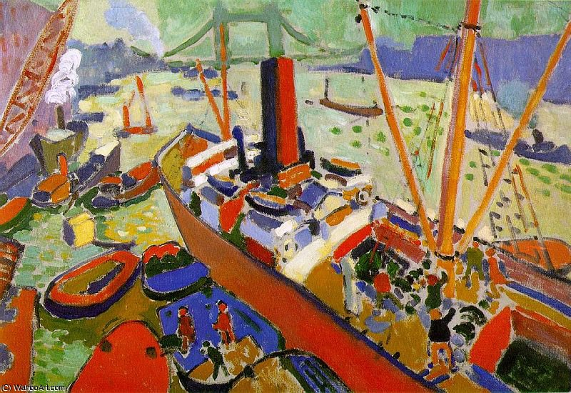The Pool of London - oil on canvas -, 1906 by André Derain (1880-1954, France) | WahooArt.com