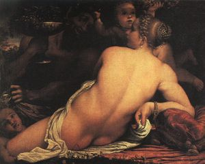 Annibale Carracci - venus with satyr and cupids - oil on paper -