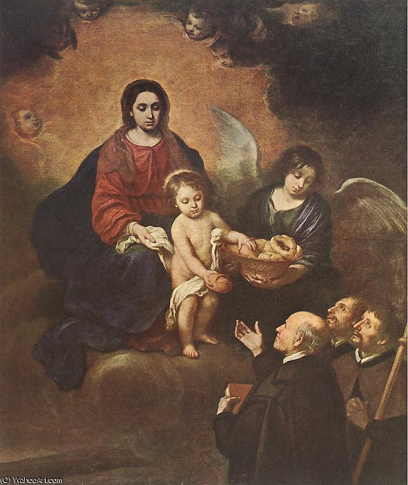 The Infant Jesus Distributing Bread to Pilgrims by Bartolome Esteban Murillo (1618-1682, Spain) | Paintings Reproductions Bartolome Esteban Murillo | WahooArt.com