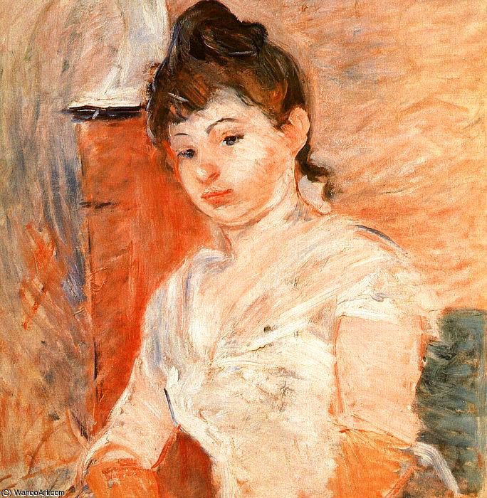 Jeune Fille en Blanc by Berthe Morisot (1841-1895, France) | Painting Copy | WahooArt.com