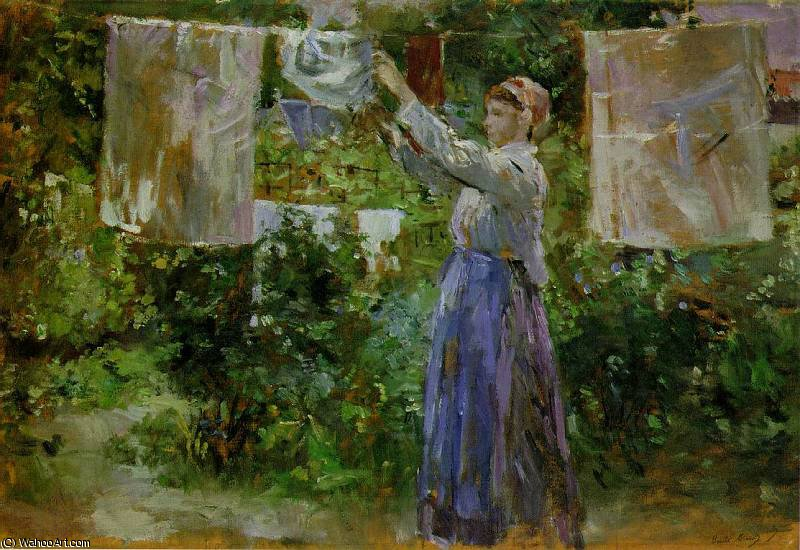 washing by Berthe Morisot (1841-1895, France) | Museum Quality Reproductions | WahooArt.com