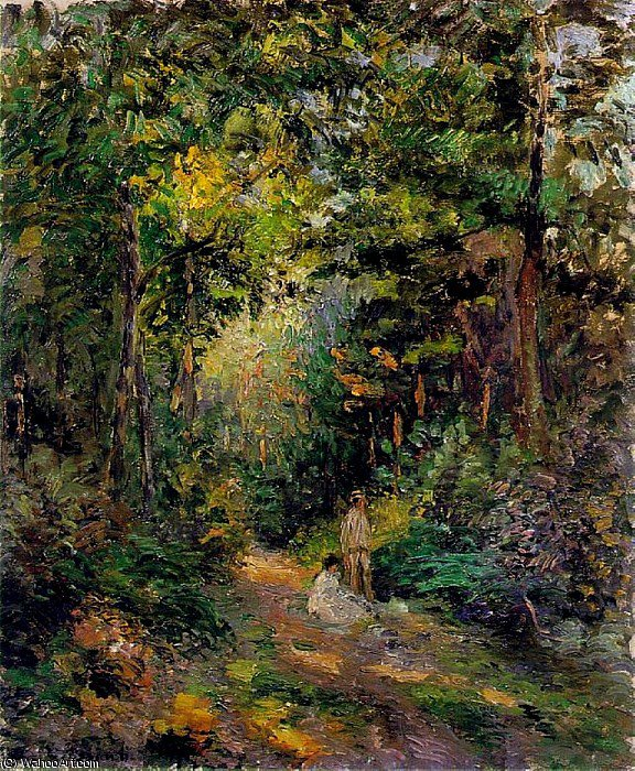 Autumn, Path through the Woods., 1876 by Camille Pissarro (1830-1903, United States) | Oil Painting | WahooArt.com