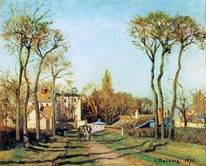 Camille Pissarro - Entry into the village of Voisins Sun