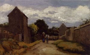 Camille Pissarro - Male and Female Peasants on a Path Crossing the Countryside.