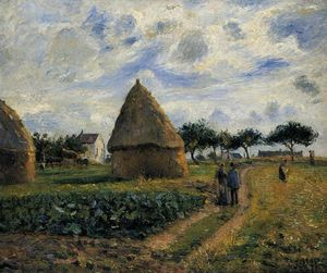 Camille Pissarro - Peasants and Hay Stacks.