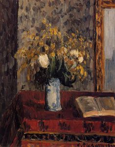 Camille Pissarro - Vase of Flowers, Tulips and Garnets.
