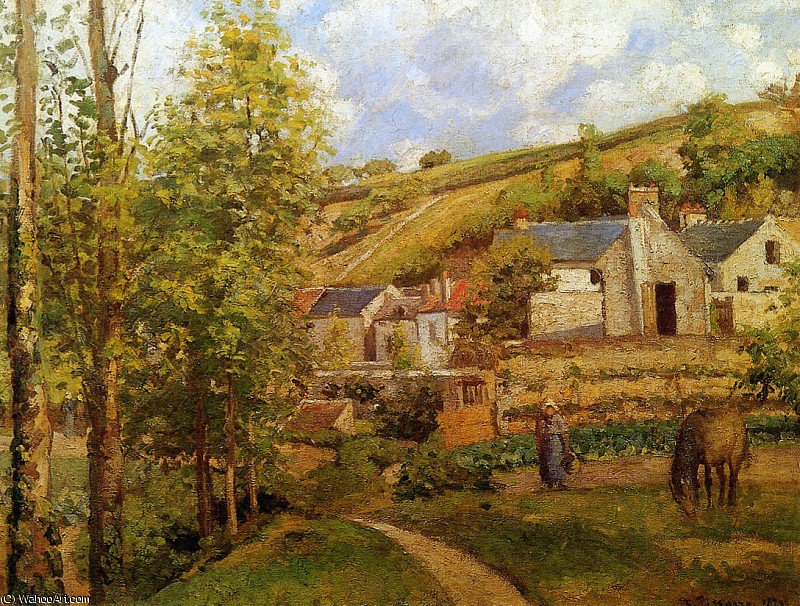 View on Ermitage Sun by Camille Pissarro (1830-1903, United States) | Reproductions Camille Pissarro | WahooArt.com