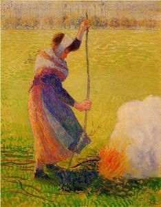 Camille Pissarro - woman burning wood.