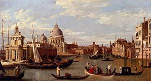 Giovanni Antonio Canal (Canaletto) - view of the grand canal and santa maria della salute with boats and figures in the foreground venice