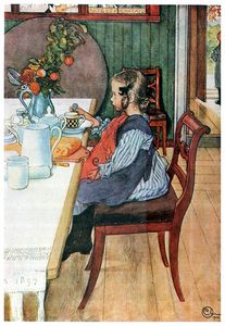Carl Larsson - a late risers miserable breakfast