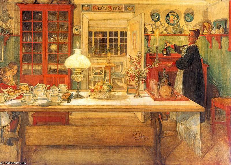 Getting Ready for a Game (1901), 1901 by Carl Larsson (1853-1919, Sweden)