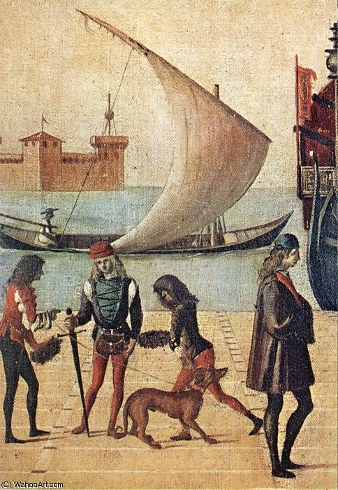 Arrival of the English Ambassadors (detail - ) by Vittore Carpaccio (1465-1526, Italy)