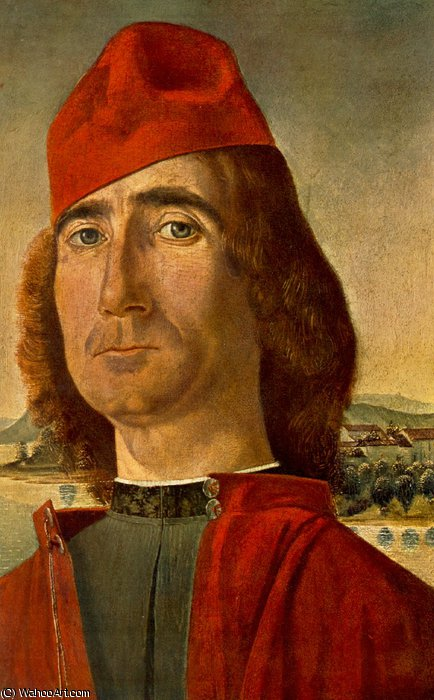 Portrait of an Unknown Man with Red Beret by Vittore Carpaccio (1465-1526, Italy)