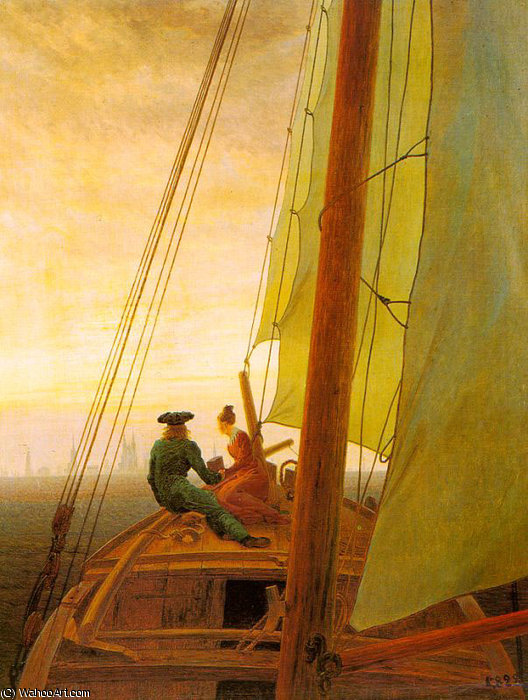 On Board a Sailing Ship by Caspar David Friedrich (1774-1840, Germany)