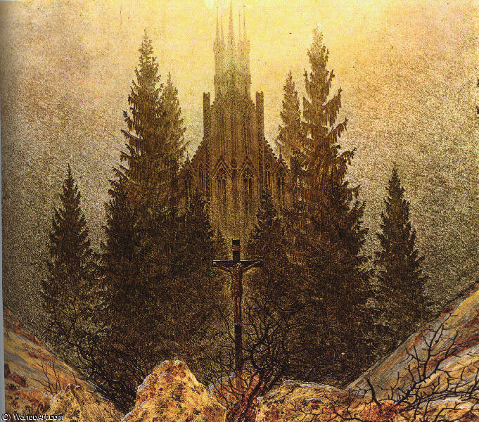 The Cross on the Mountain Kunstmuseum at Dusseldorf by Caspar David Friedrich (1774-1840, Germany) | Oil Painting | WahooArt.com