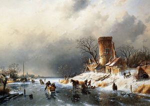 Charles Henri Joseph Leickert - Dutch winter scene Sun