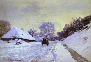 Claude Monet - The Cart; Snow-Covered Road at Honfieur, with Saint-Simeon Farm