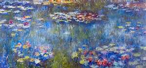 Order Paintings Reproductions | le bassin aux nympheas - reflets verts, 1920 by Claude Monet (1840-1926, France) | WahooArt.com