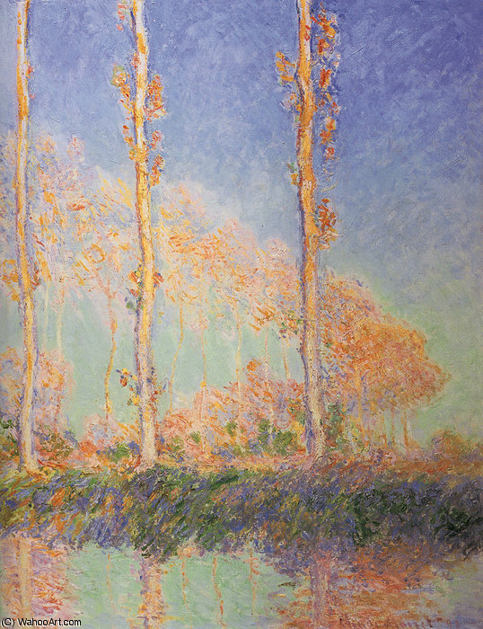 poplars, 1891 by Claude Monet (1840-1926, France) | Famous Paintings Reproductions | WahooArt.com
